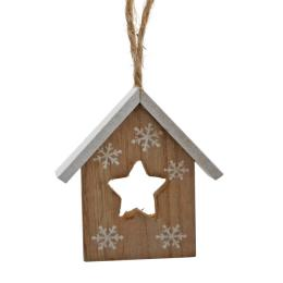 Pendente Star House In Wood cm 7,5X9X2