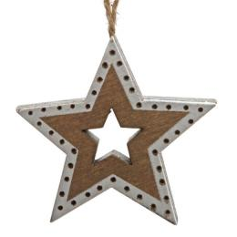 Box Pendente Star In Wood cm h4,5
